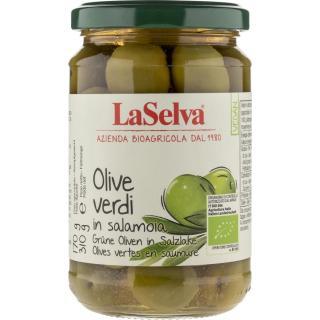 Oliven grün in Salzlake im Glas